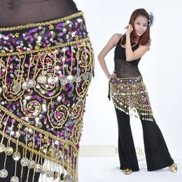 Wholesale Belly Dance Sequins Hip Scarf - 150pcs Golden Coins Luxury Charming Belly Dance Costume Crocheted Hip Scarf Belt Sequins 2 colors