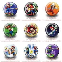Wholesale Wholesale Buttons Brooches - A Set of 18Pcs Super Mario Bros Tin Buttons pins badges,30MM,Round Brooch Badge ,Mixed 9 Styles,Kids Party Favor
