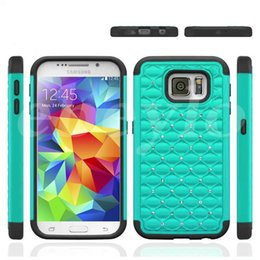 Wholesale Hard Plastic Case Mix - Hybrid 2 in 1 silicone PC hard Plastic Bling Diamond Crystal Rhinestone Case Cover For iphone 6 plus galaxy S6 edge mix color