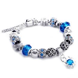 Wholesale Swan Style - 5 Colors Fahion Zircon Swan Pandant Crystal European Charm Beads DIY Snake Chain Style Bracelets Jewelry AA23