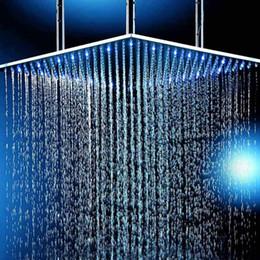 """Grandes cabeças de chuveiro quadradas on-line-Cabeça de chuveiro Quadrado Tamanho Grande 24 """"600x600mm Acessórios Do Banheiro de Água Potência Iluminado LED Light Rain Shower Bath"""