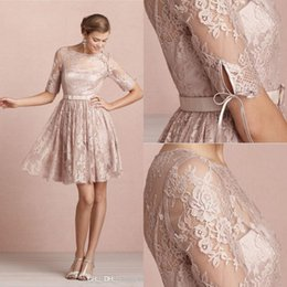 Wholesale Modest Bateau Bridesmaid Gown - 2015 Backless Sheer Long Sleeves Modest Bridesmaid Dresses Cheap Knee Length Mini Short Lace Cocktail Dresses Party Homecomming Gowns