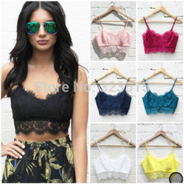 Wholesale White Lace Bralet - FG1511 Hot Sales Sexy Women Lace Floral Unpadded Bralette Bralet Bra Bustier Crop Top Cami Tank