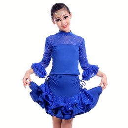 Wholesale Dancewear Latin Dress - 4pcs lot Fashion Rhinestone Style Long Sleeves Latin Dance Dress Irregular Pleats Dancewear Girls Ballroom Costumes tls307