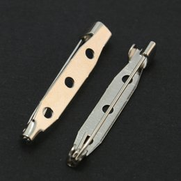 Wholesale Color 69 - 300pcs - Rhodium Plated Color 38mm Metal Brooch Back Bar Pins Clasps DIY Jewelry Findings DH-FZC005-69