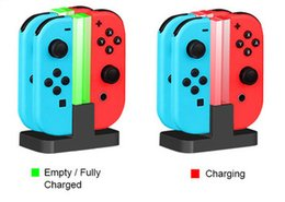 Wholesale Charger Nintendo - Charging Dock Station LED Charger Cradle For Nintendo Switch 4 Joy-Con Controllers 4 In 1 Nintend Switch NS Charging Stand