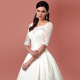 Wholesale Types Modern Dress Sleeves - Euro Type Scoop Neck with Half Sleeves Satin Ball Gown Wedding Dresses 2016 Lace