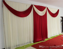 Wholesale Elegant Backdrops - New Elegant Ice Silk Milk White and Red Wedding Backdrops Curtain with Swag 6m(w) x 3m(h) for Wedding Decoration