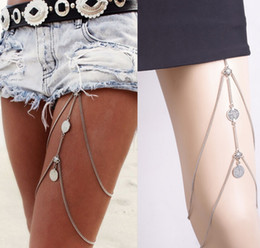 Wholesale Ankle Plate - WishCart Legs Thigh Foot Punk Sexy Coin Tassels Leg Chain Fashion Caved Ankle Bracelets Anklet Red Anklets Jewelry Wholesale