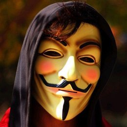 Vestido blanco para hombres online-V para Vendetta Mask Guy Fawkes Anónimo Halloween Disfraz Disfraz Disfraz (Blanco / Amarillo) 2 colores