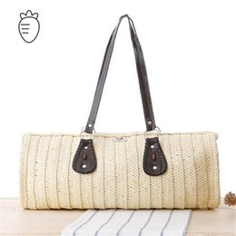 Wholesale Large Straw Beach Tote Bags - Wholesale-beach bag large big women handbags 2015 new arrival straw bags solid women sand sea shoulder bags leather tote high quality bag