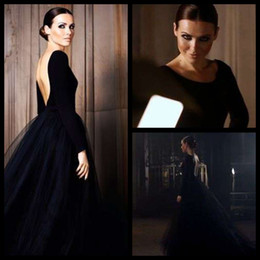 Wholesale Jersey Formal Gowns - Black Puffy Tulle Skirt Open Back Elegant Long Sleeve Evening Dresses 2015 Formal Gown New Arrival