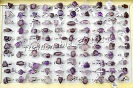 Wholesale Amethyst Fashion Rings - Jewelry 50Pcs Lots Fashion Unisex Amethyst gemstone Silver Plated Ring New[R0231*50]