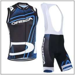 bavettes cyclistes professionnelles Promotion New Arrival 2015 Orbea Team Men Pro Cycling Jersey Set / Summer Cycling Vest Et (bavoir) Shorts / Chemise Sans Manches Maillot Ciclismo Ensembles