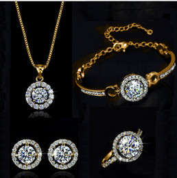 Wholesale Silver Costume Jewelry Sets - AAA Zircon Weddings Costume Jewelry Sets (Bracelet,earring ,ring ,necklace )Rhinestone Crystal Costume Jewelry for women