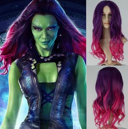 Wholesale Pink Cosplay Wig Long - New Movie Guardians of the Galaxy Gamora Wig Synthetic Long Wavy Gradient Purple mixed Pink Anime Cosplay Wig Free Shipping