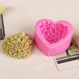3d encajes rosas online-Amor rosas Chocolate Candy Jello 3D fondant de silicona del molde del molde del molde decoración de pasteles / herramientas de pastelería