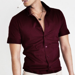 Wholesale Low Price Work Dresses - Wholesale-Promotions! Man Spring&Summer Shirt Short Sleeve Business Office Daily Work Men Tops&Shirt Silm High Quality Low Price 4