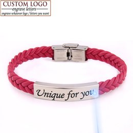 Wholesale Gift Service - Wholesale-Super price! Mother's day unique family gift for lover titanium leather bracelet engrave service adjust length women men