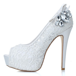 Wholesale Wedding Pumps Cheap - 2015 New Cheap Lace Open Peep Toe Wedding Shoes Rhinestone with Pumps Heel Crystal Wedding Party Dress Bridesmaid Shoes 3128-19
