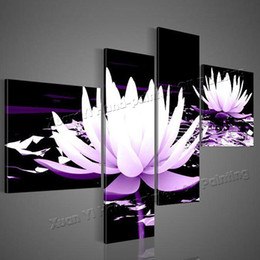 Wholesale Decorative Figure Painting Oil - 100% HD Painted 4 Piece Black White Purple Modern Decorative Oil Painting On Canvas Wall Art Flower Picture For Living Room