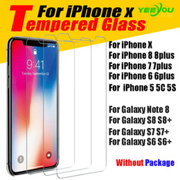Wholesale Clear Screen Protector Film - For iPhone X 8 8Plus 6S Tempered Glass Screen Protector for Samsung S6 edge S8 Note 8 clear film protection Without Pakcage
