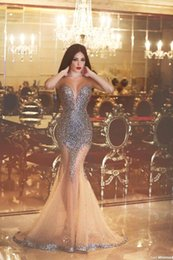 Wholesale Nude Rhinestones - Sheer Crew Neck Beaded Bodice Mermaid Evening Dresses 2016 Sexy Rhinestone Sleeveless Said Mhamad Evening Gowns Pageant Party Gowns BA2009
