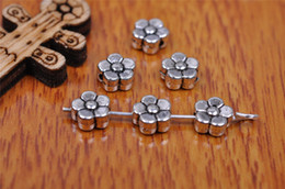 Wholesale Connectors 925 Silver - Top Sale 500pieces 6mm Snow Flower Beads Spacer Charms connector Pendant 7187 925 Tibet Silver DIY Jewelry Beads Europe Bracelet Necklace
