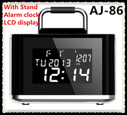 Wholesale Floor Stand Clock - Fashion AJ86 Bluetooth Speaker For Iphone Ipad stand rechargeable 2000MAH with TF Fm With Alarm clock With LCD display dhl FREE shipping