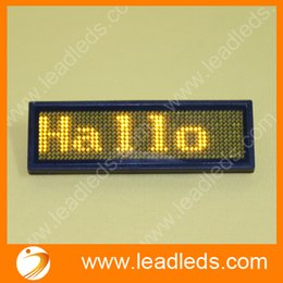 Wholesale Usb Led Badge - Wholesale-Free Shipping USB Rechargeable Yellow color led tag scrolling name badge world languages