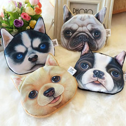 Wholesale Cartoon Coin Pouch - 3D Printing Lovely Cute Cat Dog Animal Face Print Zipper Coin Purses Purse Wallets Makeup Mini Bag Pouch Over 80style choose