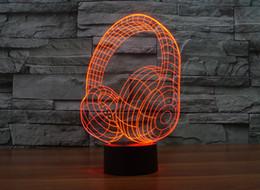 Домашнее украшение, акриловые 3D знак огни, светодиодные современная жизнь настольная лампа, мини-USB настроение лампа спальня, красочные, наушники от Поставщики для наушников