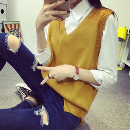 Wholesale Wholesale Sweater Vests - Wholesale- Autumn spring women fashion sweaters & knitwear casual loose slim sleeveless knitted long vest sweaters pull femme V-neck jumper