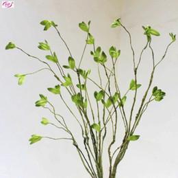 Зеленые дома онлайн-L131 Зеленый Лист Листья Веточка Бесплатная Доставка Искусственный Зеленый Завод Высокой Моделирования Свадебные Украшения Дома С Помощью