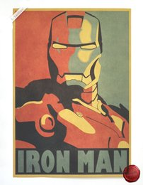 Wholesale Comic Paper - Iron Man Comic Avatar Wall Poster Decorative DIY Home Decor Painting Core Kraft Paper Kraft Posters 42*30cm