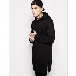 Wholesale tall men fashion - Hot Black Mens Longline Hoodies Men Fleece Solid Sweatshirts Fashion Tall hoodie hip hop side zipper streetwear Extra Long Hiphop