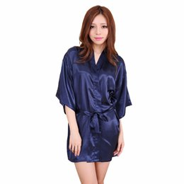 Wholesale Sexy Navy Lingerie - Wholesale- Navy Blue Chinese Women Silk Rayon Robe Mini Short Lingerie Kimono Bath Nightgown Sexy Sleepwear Pijama S M L XL XXL NB028