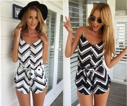 Wholesale Suspender Jumpsuit - 2015 Summer Fashion Jumpsuit Shorts Sexy Striped Pattern Suspenders Playsuit Hollow Out Casual Rompers Sleeveless Backless Womens Jumps