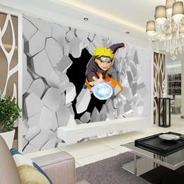 pintura a óleo fundo preto Desconto Japonês anime Mural de Parede 3D Naruto Foto Papel De Parede Meninos Crianças Quarto Personalizado Papel De Parede Dos Desenhos Animados Sala de estar Grande parede de Arte Sala de Decoração corredor