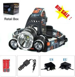 Wholesale T6 Rechargeable Flashlight - 3x CREE XM-L T6 LED Headlamp Headlight Flashlight 5000 Lumens Head Lamp + AC charger + car charger + 2pcs 18650 battery Free Shipping