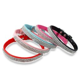 Wholesale Diamante Leather Dog Collars - 2016 30pcs Hot selling Rhinestone diamante dog collars fashion PU leather jewelry Pet collar Puppy Necklace 4 Sizes 5 Colors