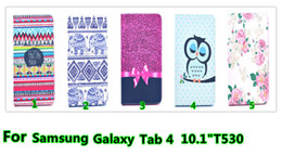 Wholesale Book Cover Printing - 50pcs lot free shipping Flower owl desgin PU wallet Cover Leather Case Book For Samsung Galaxy Tab4 10.1 T530 with stand