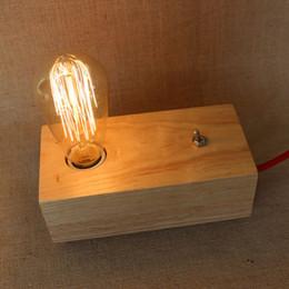 2019 handgefertigte holzlampen Handgefertigte Holz Lampe Edison Birne Lampen moderne minimalistische Beleuchtung Nachttischlampe Studie Thanksgiving Weihnachtsgeschenk für Freunde Freundinnen günstig handgefertigte holzlampen