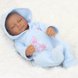 Wholesale Black American Doll - NPKDOLL 11 Inch reborn baby boys doll African American Baby Doll Black Girl Full Silicone Body Reborn Baby Dolls gift toys for children