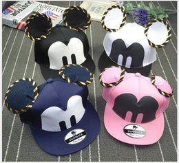 Wholesale Minnie Beanie - Retail 2016 New Mickey Minnie Ball Cap Boys Girls Sun Hat Baby Hat Children Caps Lovely Kids Beanie Hat Caps Baseball Hat With Big Ears