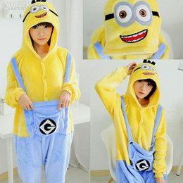 Wholesale Despicable Pyjamas - Winter Christmas Sleepwear Hoodie Pyjamas Adult Despicable Me Minion Onesie Cosplay Costume Adult Minion Pajamas