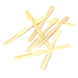 Wholesale Cocktail Forks Disposable - New Arrival High-end 100Pcs Bamboo Fruit Cocktail Forks Party Finger Food Wedding BBQ Buffet Sticks