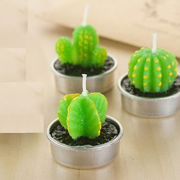Wholesale Home Wax - Cactus Scented Candle Green Meat Plant Home Interior Scent Candles Romantic Green Candle Tea Light Candles Mini Lovely Gift