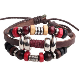 Wholesale Wholesale Beaded Weave Jewelry - 2015 new!!!Korean fashion men hand woven leather bracelets beaded jewelry length 6cm adjustable weight 17G