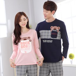 Wholesale Long Peignoir - Wholesale- Peignoir home couple pajamas set autumn and winter lover pyjama cotton long sleeve sleepwear male and female home clothing
